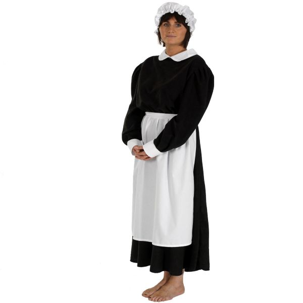 Adults Ladies Victorian Parlour Maid World War Fancy Dress Up Costume